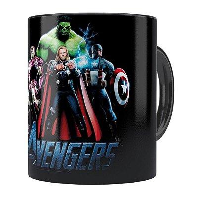 Caneca Os Vingadores (Avengers) v01 Preta