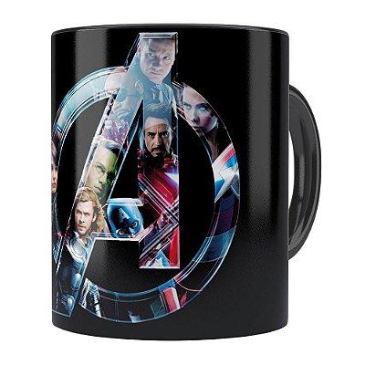 Caneca Os Vingadores (Avengers) v02 Preta