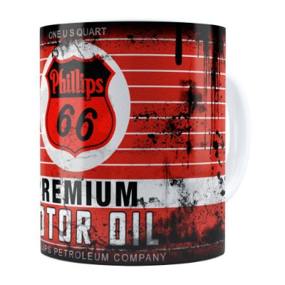 Caneca Lata de Óleo Retrô Oil Phillips Branca