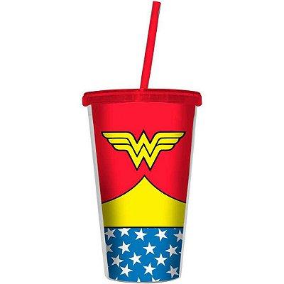 Copo Wonder Woman Body 500ml Tampa e Canudo