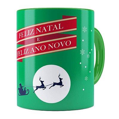 Caneca Feliz Natal Feliz Ano Novo v02 Verde