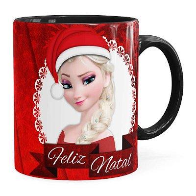 Caneca Feliz Natal Frozen Anna e Elza v02 Preta