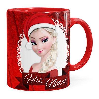 Caneca Feliz Natal Frozen Anna e Elza v02 Vermelha