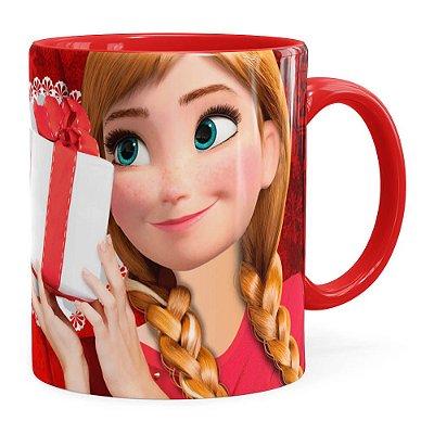 Caneca Feliz Natal Frozen Anna v01 Vermelha