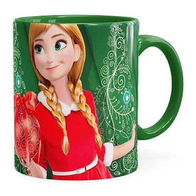 Caneca Feliz Natal Frozen Anna v03 Verde