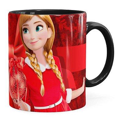 Caneca Feliz Natal Frozen Anna v04 Preta