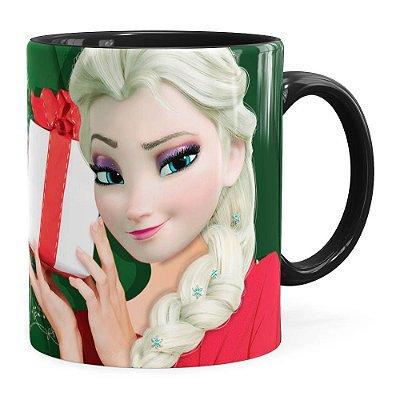 Caneca Feliz Natal Frozen Elsa v02 Preta