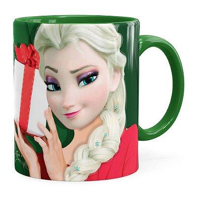 Caneca Feliz Natal Frozen Elsa v02 Verde