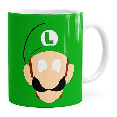 Caneca Luigi Super Mario Bros Anime Minimalista Branca