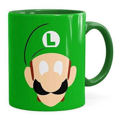 Caneca Luigi Super Mario Bros Anime Minimalista Verde