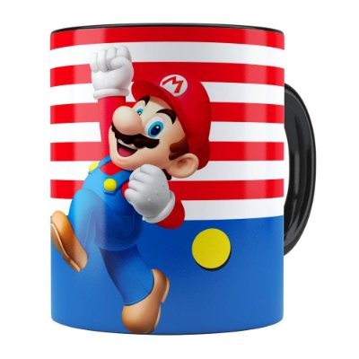 Caneca Super Mario Bros Mario Pulando Preta