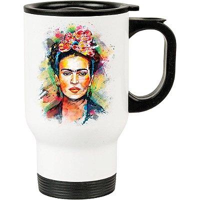 Caneca Térmica Frida Kahlo Arte 500ml Branca