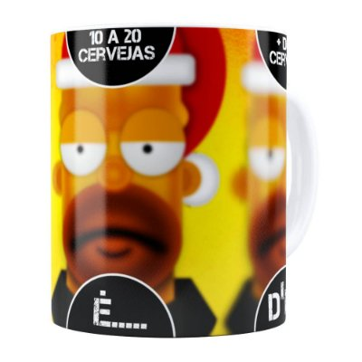 Caneca Natal Os Simpsons Homer Cervejas Branca