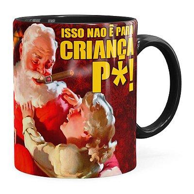 Caneca Natal Skol Com Refri Aqui Não v02 Preta