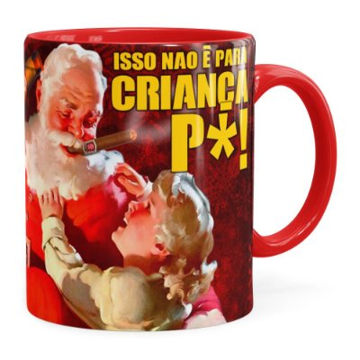 Caneca Natal Skol Com Refri Aqui Não v02 Vermelha