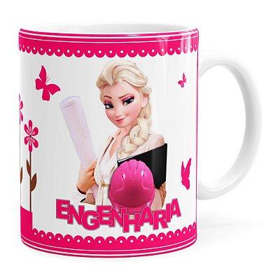 Caneca Profissões Engenharia Frozen Elsa Branca