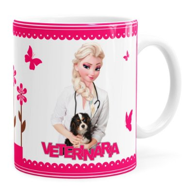 Caneca Profissões Veterinária Frozen Elsa Branca