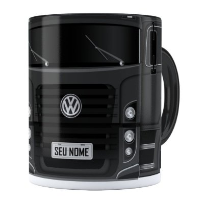 Caneca Personalizada Truck Cinza Escuro v02 com Nome Preta
