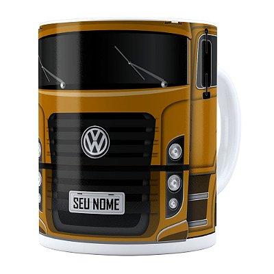 Caneca Personalizada Truck Mostarda v02 com Nome Branca
