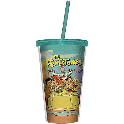 Copo Flintstones Family In a Car 500ml Tampa e Canudo