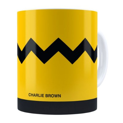 Caneca Peanuts Charlie Brown Minimalista Branca