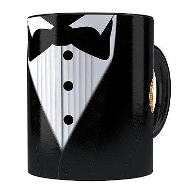 Caneca Black Tie Melhor Pai do Ano Preta