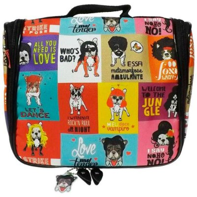 Necessaire Monsters of Dog Pop Nylon Resinado com Ganchinho