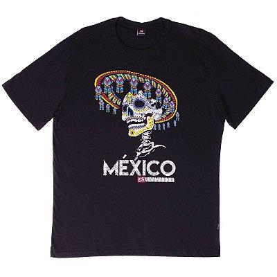 """Camiseta Manga Curta Com Estampa Caveira Mexicana Diferenciada """"Coleção México"""""""