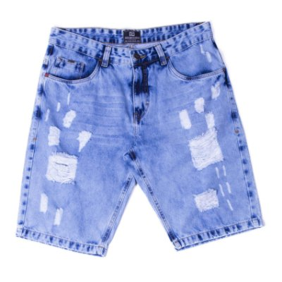 """Bermuda Jeans Estonada Com Bordado """"Coleção Indonésia"""""""