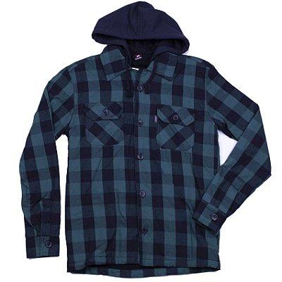 Camisa Modelo Flanela Xadrez Forrada Com Capuz E Dois Bolsos Frontais - INFANTIL