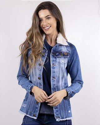 08e715ca2 Jaqueta Jeans Feminina Com Gola De Pele Removível Com Botões E Bolsos  Frontais zoom