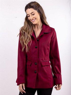 926dc9b722 Casaco Trench Coat Feminino Bordô Com Botões E Bolsos Frontais zoom