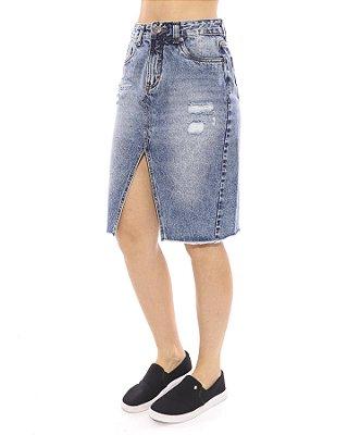 Saia Vida Marinha Jeans