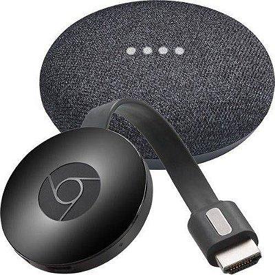 Kit Google Home Mini + Chromecast 2 Full HD 1080p