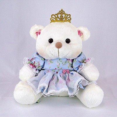 Ursa De Pelúcia Princesa Off White M Floral Azul