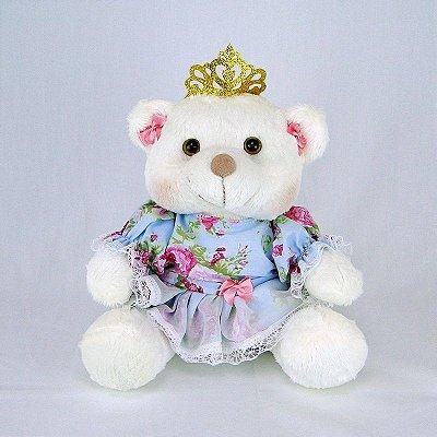 Ursa De Pelúcia Princesa Off White P Floral Azul