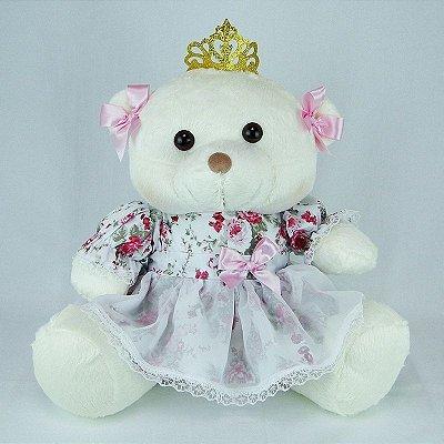 Ursa De Pelúcia Princesa Off White G Floral Rosa
