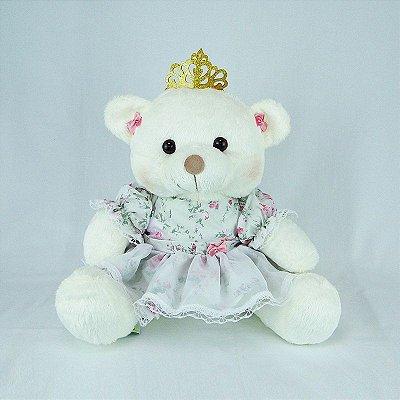 Ursa De Pelúcia Princesa Off White M Floral Rosa