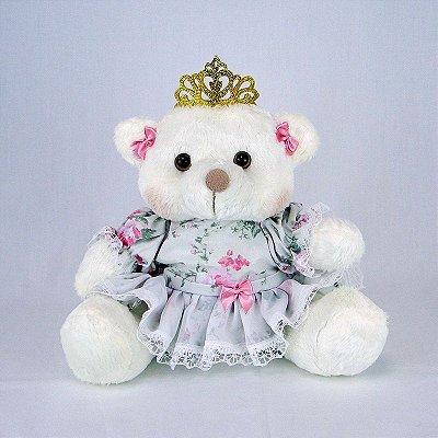 Ursa De Pelúcia Princesa Off White P Floral Rosa