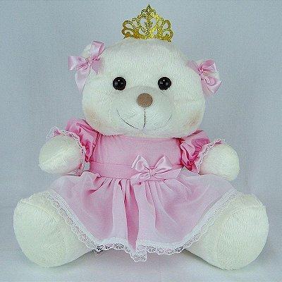 Ursa De Pelúcia Princesa Off White G Rosa