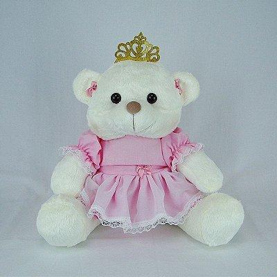 Ursa De Pelúcia Princesa Off White M Rosa