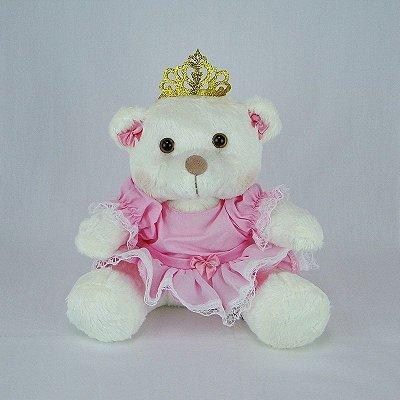 Ursa De Pelúcia Princesa Off White P Rosa