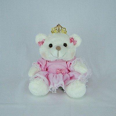 Ursa De Pelúcia Princesa Off White Mini Rosa