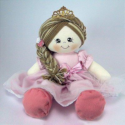 Bonecas De Pano Princesa Vestido Rosa Grande