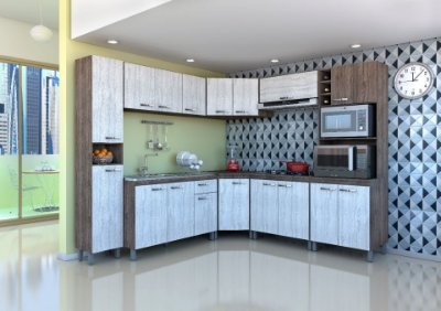 Cozinha modulada completa 8 peças 17 portas - Atlas - Móveis Sul