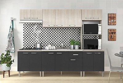 Cozinha modulada 5 peças 13 portas Grafite/Nogueira Max - Fellicci