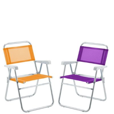 Kit 1 Cadeira Sun Alumínio Lilás| 1 Laranja