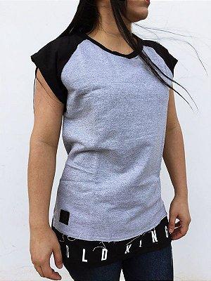70f7d716d Camiseta moletinho long line cinza sem manga M F