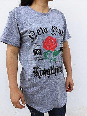 52cb5cc1e Camiseta long line cinza rose feminina