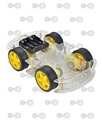 KIT CHASSI 4WD 4 RODAS COM MOTORES BASE TRANSPARENTE ACRÍLICO 3 MM